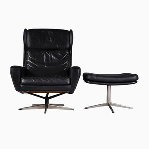 Danish High Back Swivel Lounge Chair and Ottoman, 1960s