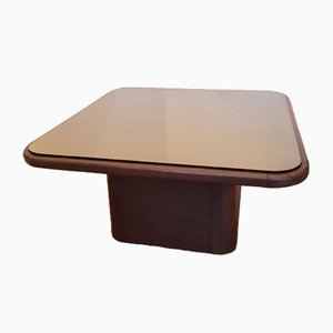 Vintage Leather & Smoked Mirror Square Coffee Table from de Sede