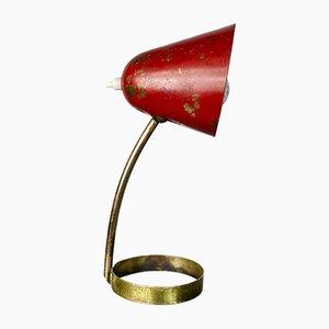 Lampada da tavolo rossa di Jacques Biny per Luminalite, anni '50