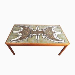 Mesa de centro de teca y cerámica de Trioh, 1978