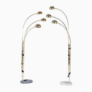 Vintage Brass and Marble Three Arm Arc Floor Lamps, 1970s, Set of 2