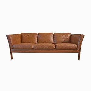 Brown Leather Scandinavian Sofa, 1970s