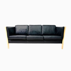 Scandinavian Black Leather & Natural Wood Sofa, 1980s