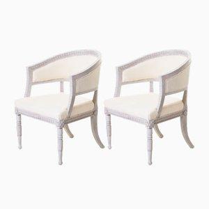 Antike schwedische Bergere Armlehnstühle, 2er Set