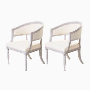 Antique Swedish Bergere Armchairs, Set of 2