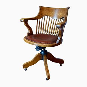 Antique Captain's Swivel Desk Chair