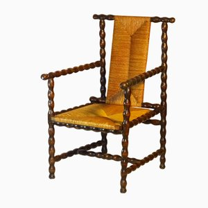 Antique Jugendstil Turned Wood Armchair by Josef Zotti for Prag Rudniker Korbwaren