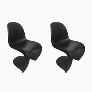 Sedie in plastica nera di Verner Panton per Vitra, 2001, set di 2