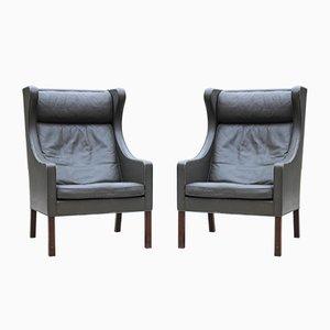 2204 Wing Chairs aus Leder von Børge Mogensen für Fredericia, 1960er, 2er Set