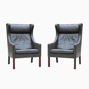 Leather 2204 Wing Chairs by Børge Mogensen for Fredericia, 1960s, Set of 2