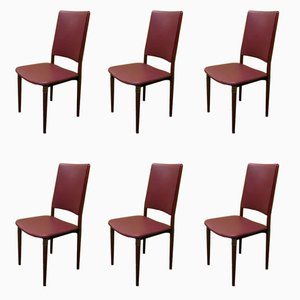 Wood & Leather Chairs by Osvaldo Borsani for Tecno, 1960, Set of 6