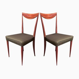 Italian Mahogany & Green Silk Chairs, 1950s, Set of 2