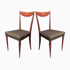 Italian Mahogany & Green Silk Chairs, 1950s, Set of 2