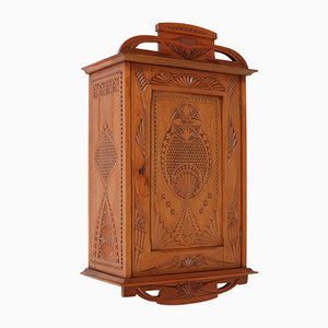 Dutch Art Nouveau Fruitwood Kerfschnitt Wall Cabinet, 1900s
