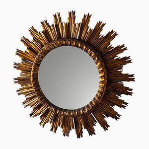 Vintage Wooden Sunburst Mirror, 1950s