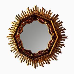 Espejo Mid-Century grande en forma de sol de madera, años 50