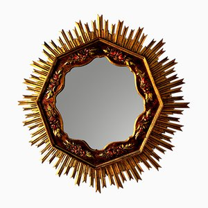 Large Mid-Century Wooden Sunburst Mirror, 1950s