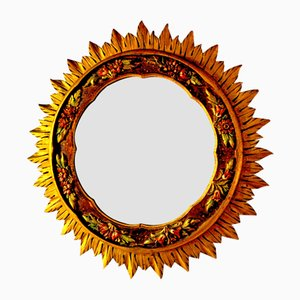 Espejo vintage de madera en forma de sol, años 60