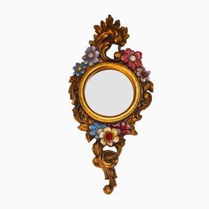 Espejo estilo rococó de acacia dorada, años 60