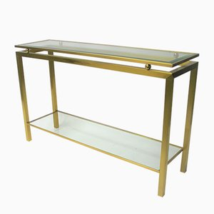 Brass & Glass Console Table, 1970s