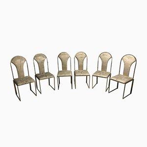 Chaises de Salle à Manger Vintage en Laiton de Belgo Chrom, 1970s, Set de 6
