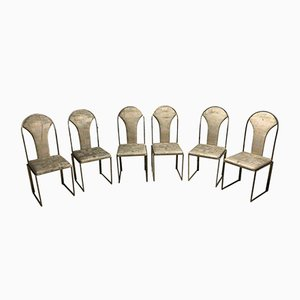 Vintage Brass Dining Chairs from Belgo Chrom, 1970s, Set of 6