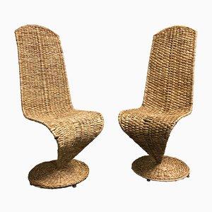 Rattan S Lounge Chairs by Marzio Cecchi, 1970s, Set of 2