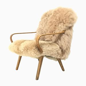 Vintage Bentwood and Sheepskin Armchair from TON