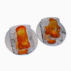 Brutalist Orange Murano Glass Sconces by Paolo Venini for S.A.L.I.R. Murano, 1970s, Set of 2