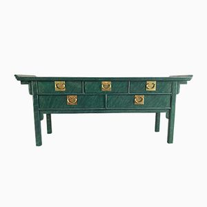 Vintage Faux Malachite Console Table