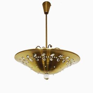 Lampada da soffitto floreale in cristallo, anni '50