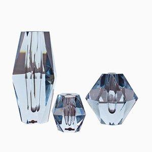 Jarrones suecos en forma de diamantes de cristal tallado de Strömbergshyttan, años 60. Juego de 3