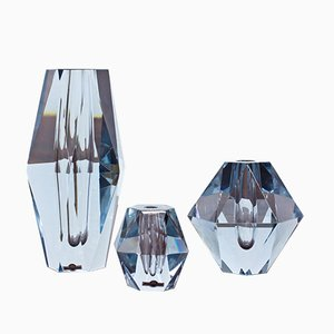 Swedish Diamond Cut Crystal Vases from Strömbergshyttan, 1960s, Set of 3