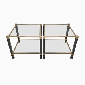 Brass Square Side Tables by Pierre Vandel, 1980s, Set of 2