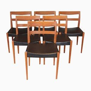 Skandinavische Garmi Stühle aus Teak & Skai von Nils Jonsson für Troeds, 1960er, 6er Set