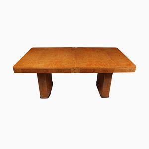 Mesa de comedor Art Déco de madera nudosa de arce, años 30