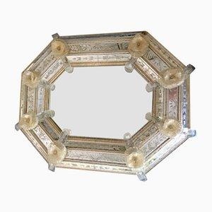 Espejo veneciano Mid-Century de oro de 24 quilates