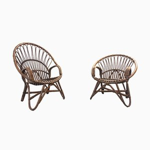Mid-Century Dutch Rattan Peacock Chairs from Rohé Noordwolde, 1970s, Set of 2