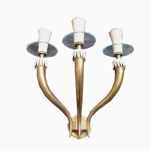Wandlampe aus Messing von Gio Ponti für Fontana Arte, 1950er