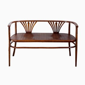 Antique Art Nouveau Bentwood Bench from Fischel