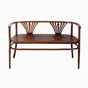 Panca Art Nouveau in legno curvato di Fischel