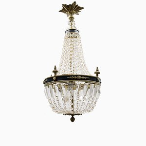Vintage Empire Bronze and Crystal Glass Basket Chandelier