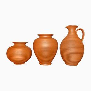 Vasen aus Terrakotta von Ilkra Keramik, 1950er, 3er Set