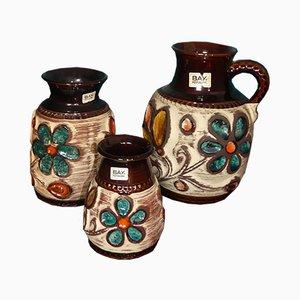 Deutsche Vintage Serie 94 Vasen mit Blumendekor von Bay Keramik, 3er Set