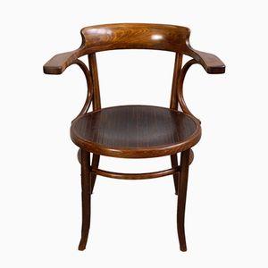 Sedia da ufficio antica in legno curvato di Fischel