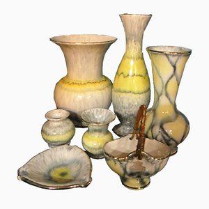 Grey Flamed Ceramic Convolute Pieces with Running Yellow Glaze from Bay Keramik, 1950s, Set of 7
