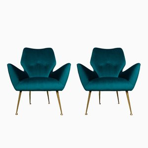 Mid-Century Italian Teal Velvet Lounge Chairs, 1950s, Set of 2