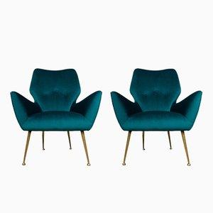 Mid-Century Italian Teal Velvet Lounge Chairs, 1950s, Set of 2