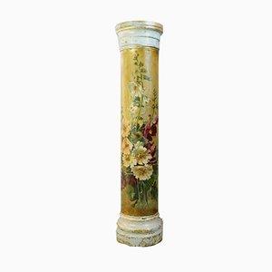 Antike belgische Säule mit handbemalten Blumen
