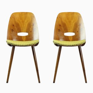Lollipop Walnut Veneer Dining Chairs by František Jirák for Tatra, 1960s, Set of 2